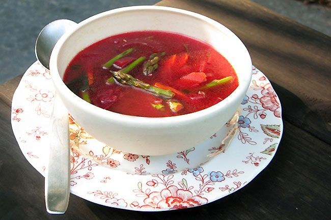 Cleansing Miso, Beet and Asparagus Soup